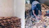Câtă răbdare a avut! A decorat podeaua cu bucăţi de lemn şi plăci ceramice