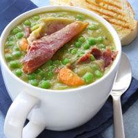 Supa-crema de mazare cu sunca
