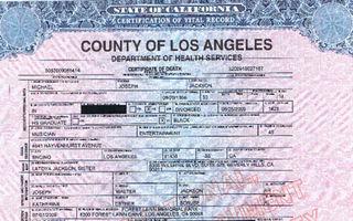 O copie a certificatului de deces al lui Jackson costa 12 dolari