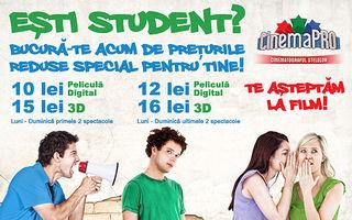 Ştire de ultimă oră! CinemaPRO a redus preţurile pentru elevi şi studenţi