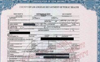 Whitney Houston: certificatul de deces publicat de presă