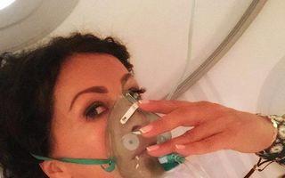 Mihaela Rădulescu, cu masca de oxigen pe faţă