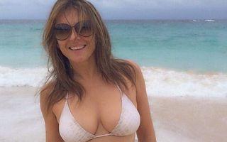 Liz Hurley arată senzațional la 51 de ani: Costumul de baie îi vine perfect!