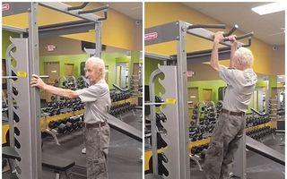 Un pensionar de 90 de ani le dă clasă puştilor care merg la sală: Face 24 de tracţiuni! - VIDEO