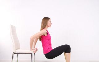 6 exerciţii simple pe care le poţi face cu un scaun. Tonifiază tot corpul!
