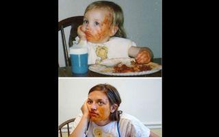 Adulţi care şi-au refăcut pozele din copilărie. 25 de imagini de tot râsul