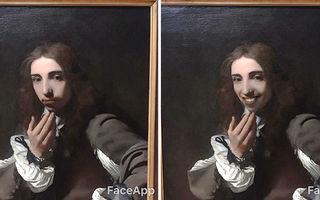 I s-au părut prea serioase picturile şi le-a retuşat în telefon. Vezi ce a ieşit!