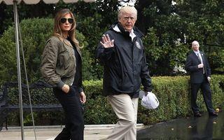 Melania Trump, ironizată pentru ţinuta sa: A plecat la inundaţii cu tocuri cui și ochelari de aviator!