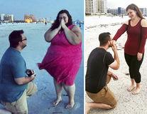 Exemplul unei femei puternice: A slăbit 136 de kilograme în 18 luni şi îşi reface pozele vechi