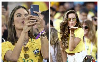 Fetele în galben cuceresc Cupa Mondială: Iubitele fotbaliştilor brazilieni fac show în tribune!