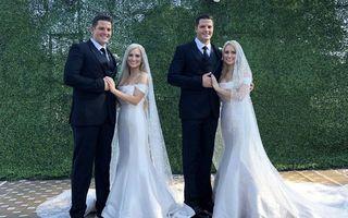 A fost de două ori ca niciodată: Două gemene identice s-au măritat cu doi gemeni identici