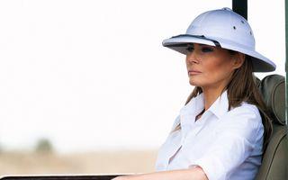 Melania Trump a purtat o pălărie jignitoare pentru africani, în timpul unei vizite în Kenya