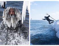 Poseidon înfruntă gerul: Surferii cu pletele înghețate au sfidat Vortexul Polar