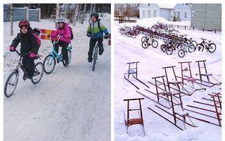 La școală, în Finlanda: Copiii vin cu bicicleta pe zăpadă, la -17 grade și nimeni nu se plânge