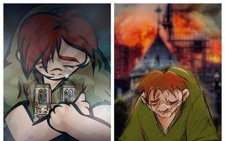 Fără cuvinte: 15 desene emoționante care arată dezastrul Catedralei Notre-Dame