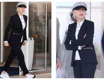 Helen Mirren, o doamnă în costum la 73 de ani: Ținuta șic cu care vedeta a plecat de la Cannes
