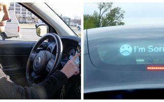 """Ecranul LED care afișează scuze pe spatele mașinii: Nu mai trebuie să pui """"avariile"""" când greșești la volan!"""