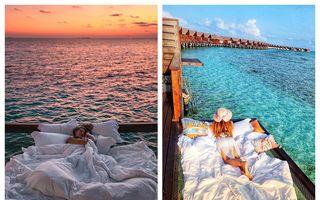 Somn ușor, vise plăcute, stelele să te sărute! 18 imagini cu hotelul din Maldive în care dormi deasupra apei și sub cerul liber