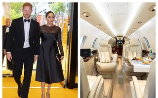 Cum arată în interior avionul privat cu care Meghan Markle și Prințul Harry au plecat în vacanță: Dotări de lux și meniuri fine servite la bord