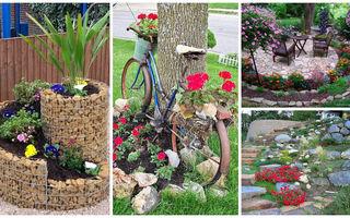 Aranjamente de grădină cu pietre și flori – 16 idei superbe
