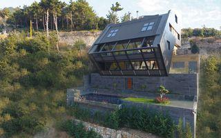 Casa în pantă, un proiect avangardist: 15 imagini care arată că se poate construi și pe teren accidentat