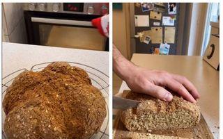 Pâine făcută în casă, fără dospire, fără frământare. Cea mai simplă rețetă de pâine