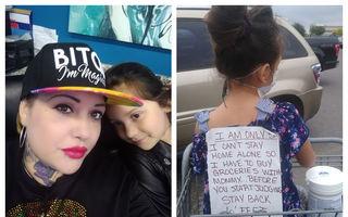 Cum le-a răspuns o femeie celor care o critică: Anunțul pe care îl poartă când merge cu copilul la cumpărături