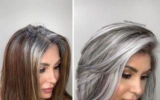 În loc să ascundă firele albe ale clientelor sale, un hairstilist le pune în valoare