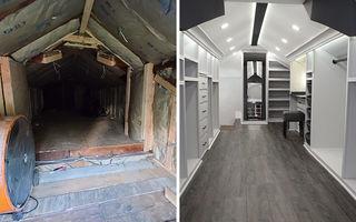 A transformat podul de coșmar al casei într-un dressing de vis pentru soția sa. Imaginile au devenit virale