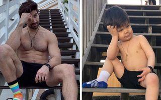 Augie, băiețelul de 3 ani care îi face concurență unchiului său model. Imaginile sunt adorabile!