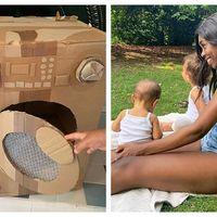 Jucariile din carton nascocite de o mama cu doi copii: Imaginația nu cere bani