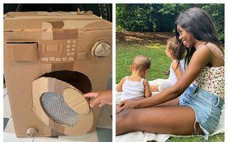 Jucăriile din carton născocite de o mamă cu doi copii: Imaginația nu cere bani