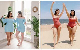 Aceeași ținută, siluete diferite. Două prietene care ne învață să ne iubim corpul!