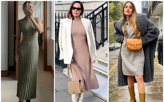 Cum să porți rochiile tricotate în iarna 2020. 50 de ținute