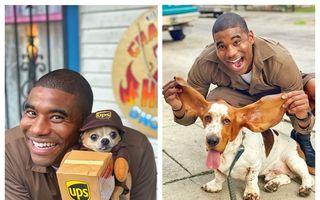 Cum se distrează un curier: Face poze cu fiecare câine pe care îi întâlnește la adresa de livrare