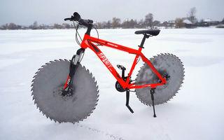 Bicicleta cu roți dințate, invenția perfectă pentru a pedala pe gheață - VIDEO