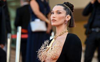 Bella Hadid a atras toate privirile la Cannes: Modelul și-a acoperit sânii cu un colier în formă de bronhii