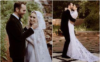 Lily Collins s-a căsătorit în secret: Rochia de mireasă superbă pe care a purtat-o fiica lui Phil Collins
